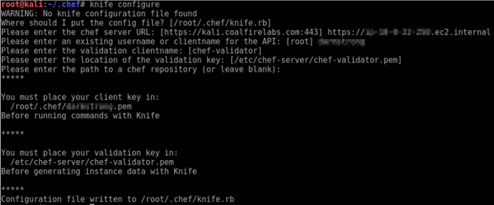 Raining Shells with a Chef Server - Knife Configure