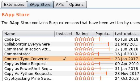Burp Suite Tips - Content Type Convertor BApp Store