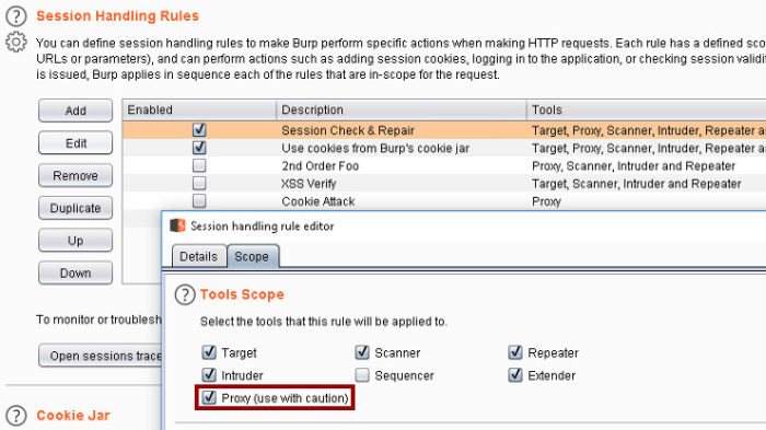 Enumerating Applications with Aquatone and Burp Suite - Burp Suite Session Handling Rule Scope