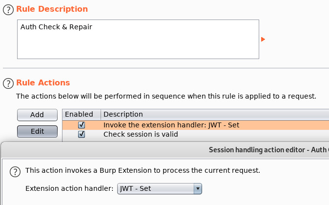 Using Burp's Cookie Jar for JWTs - Session Handling Settings for JWT Set Extension