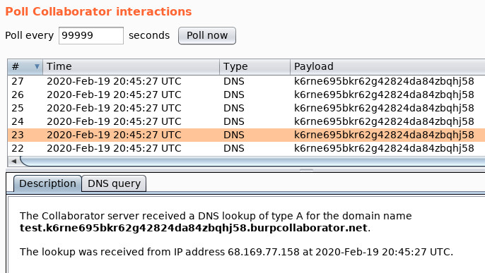 DNS Exfiltration thru Blind SQL Injection in a MS-SQL Environment - Burp Collaborator Output