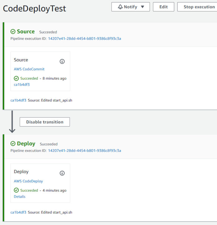 Using CodePipeline, CodeDeploy, and CodeCommit with an EC2 AutoScaling Group - CodePipeline Page