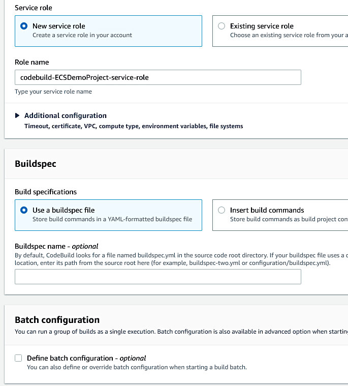 Using CodePipeline again with Elastic Container Service - Build Project Wizard