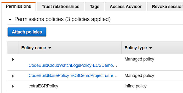Using CodePipeline again with Elastic Container Service - CodeBuild Policy