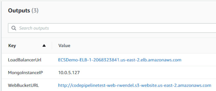 Using CodePipeline again with Elastic Container Service - Stack Outputs