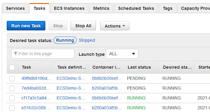 Using CodePipeline again with Elastic Container Service - ECS Tasks